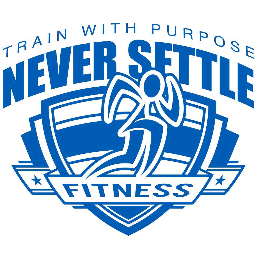Never Settle Fitness shield logo